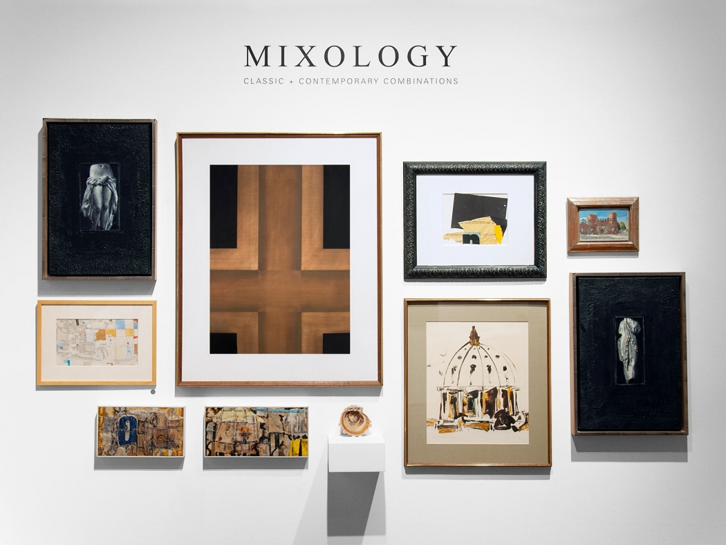 MIXOLOGY exhibition installation with John Nava, Jules Engel, Edgar Ewing, Ken Nack, Eugene Berman, Colin Campbell Cooper, William Dole, Frank Kirk