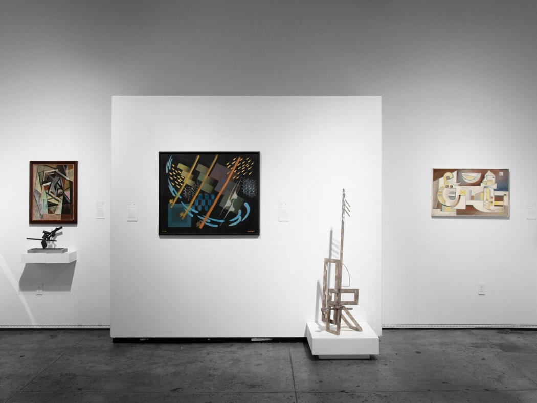 Installation photograph of CALIFORNIA BAUHAUS with Sidney Gordin, Oskar Fischinger, Ken Bortolazzo, and Werner Drewes