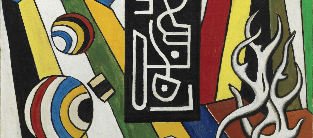 this image features a painting by Jean Dubuffettitled, Ciseaux I pruned in 1966, this painting represents an oversized pair of scissors depicted with his signature Hourloupe style which consists of thick red line, blue and red stripes.