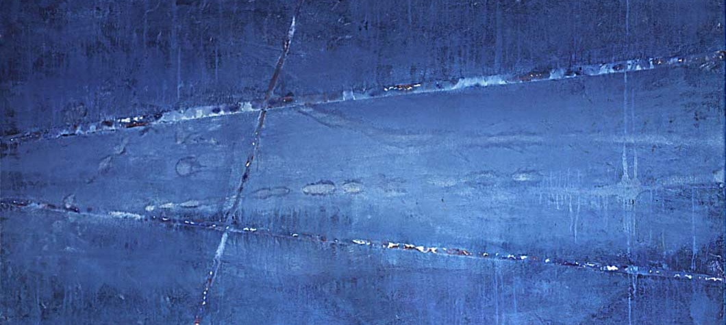 Maite Nobo, Trailblazer, 2021, Mixed media on canvas, 84 x 48 inches, Large Blue Abstract painting for sale