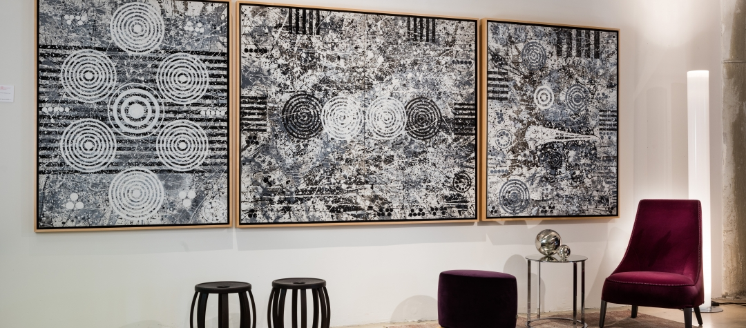 Black and White Abstract paintings for sale at Manolis Projects Art Gallery, Miami, Fl