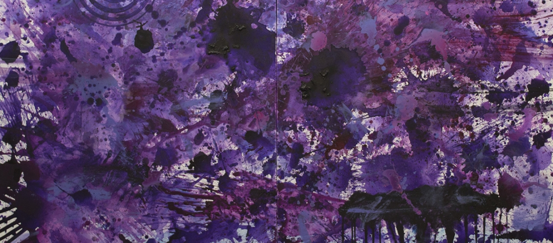 Purple abstract expressionism paintings, Abstract expressionism paintings for sale at manolis projects art gallery, Miami, Fl