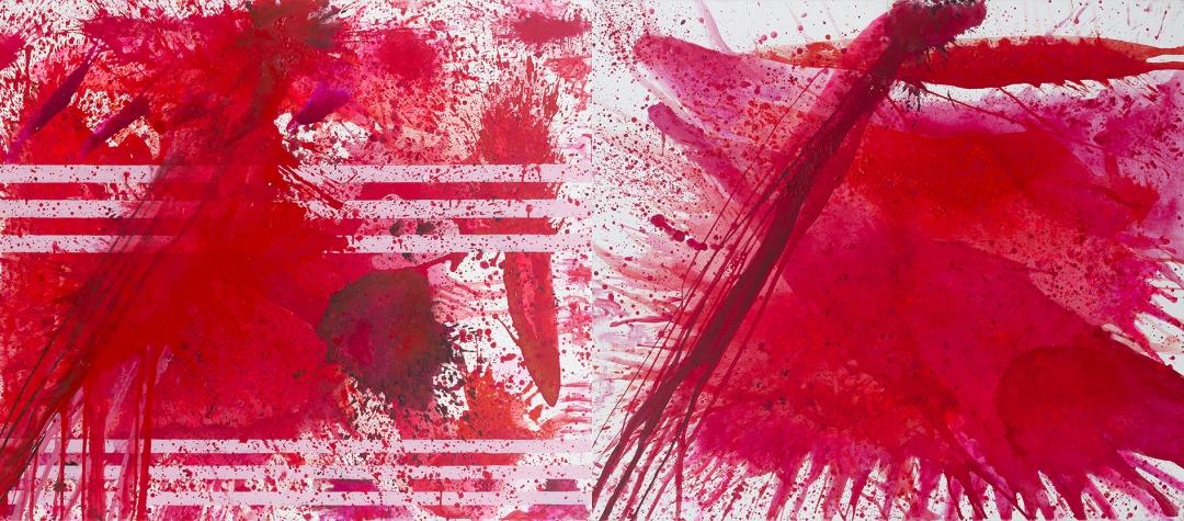 j. Steven Manolis, RedWorld Past & Future, 2015.01, acrylic on canvas, 60x144
