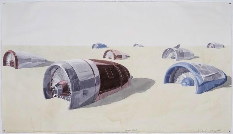Los Carpinteros Motores enterrados, 2015 watercolor on paper paper: 44 1/2 x 78 3/8 inches frame: 47 1/2 x 81 1/4 inches