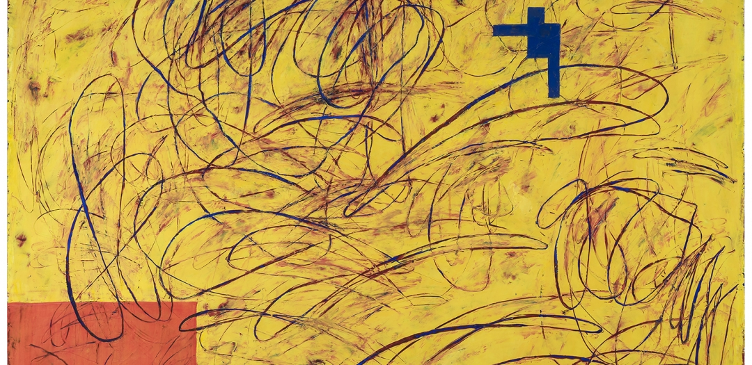 A multi-panel abstract painting by Louisa Chase (1951-2016) featuring incised gestural marks on a field of yellow.