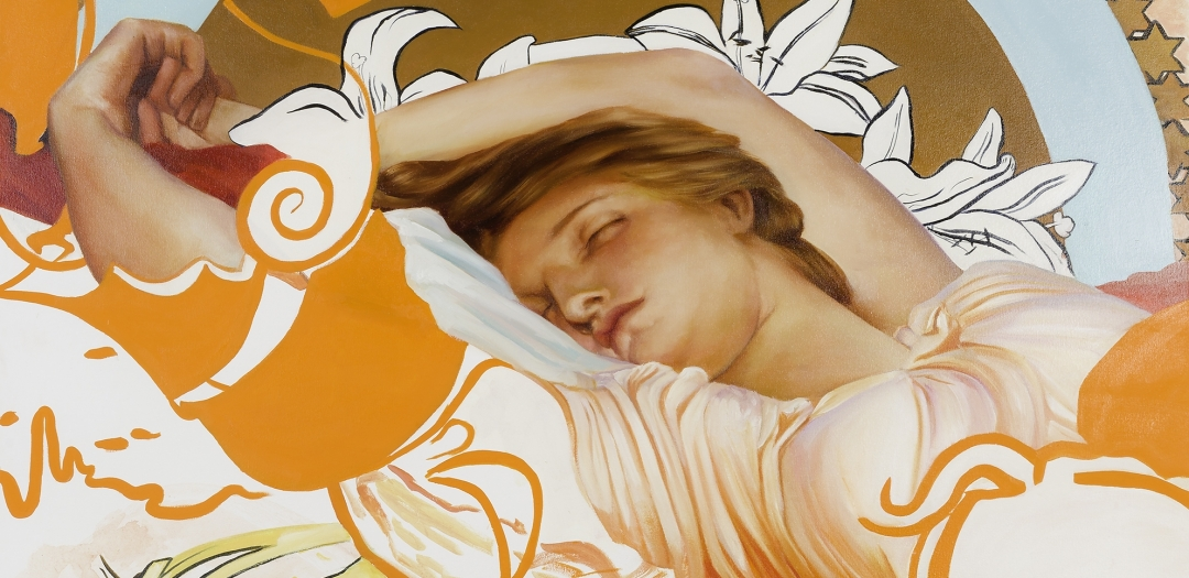 a woman sleeps in this painting by Angela Fraleigh