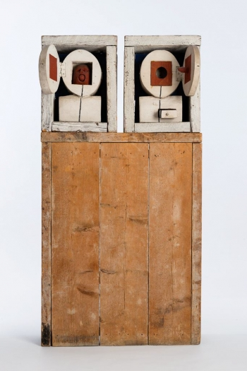 Gonzalo Fonseca  Dos Cabezas, 1968  painted, carved wood  57 5/8 x 30 x 9 inches
