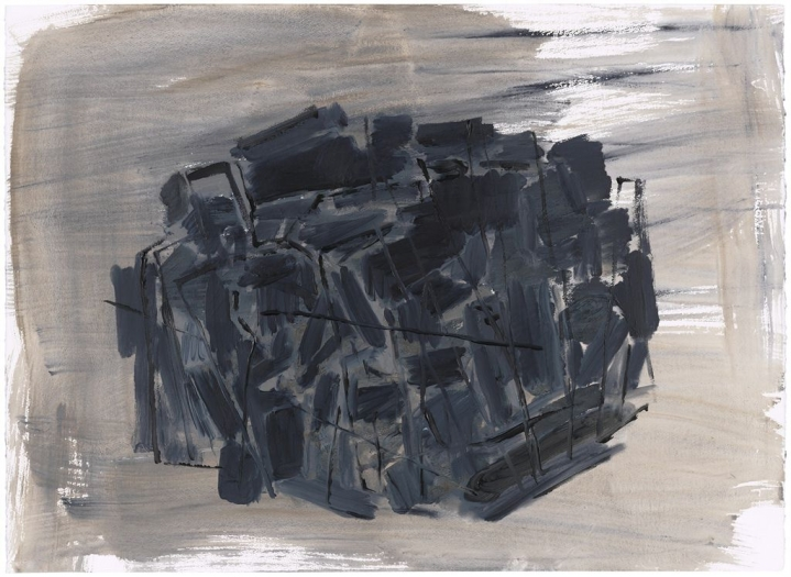 Phyllida Barlow untitled: compressedstockade, 2012 acrylic on watercolor paper 22 x 30 1/8 inches