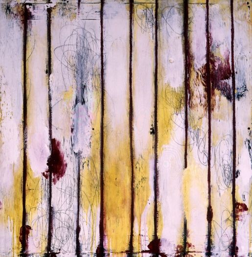 Ford Beckman  Salvation Painting, By Whose Stripes Ye Were Healed # 2, 1997  mixed media on panel  50 x 50 inches