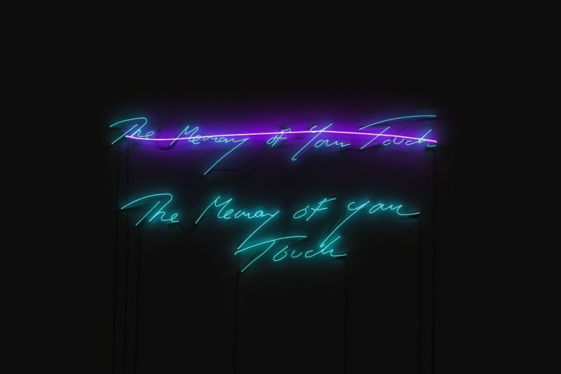 Tracey Emin  The Memory of Your Touch, 2017  neon (clear blue text, flamingo pink line)  41 3/4 x 87 13/16 inches  Edition of 3 with 2 APs
