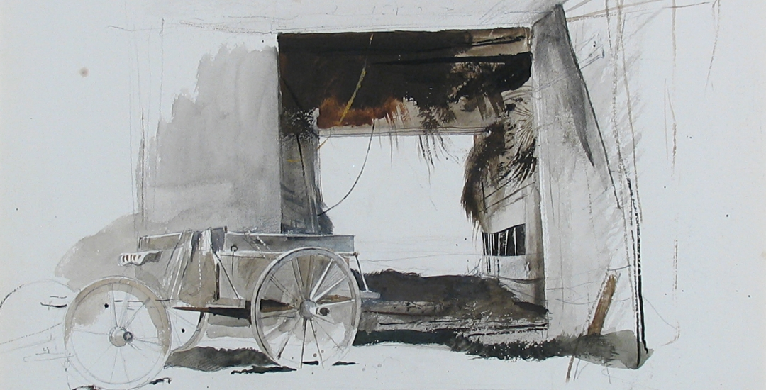"Detail of watercolor painting ""Hayloft - The Old Campbell Farm in North Waldoboro, Maine"" by painter Andrew Wyeth."