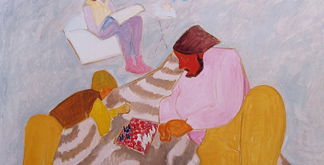 "Detail of 1978 painting ""Chess Game"" by artist Sally Michel (1902-2003)."
