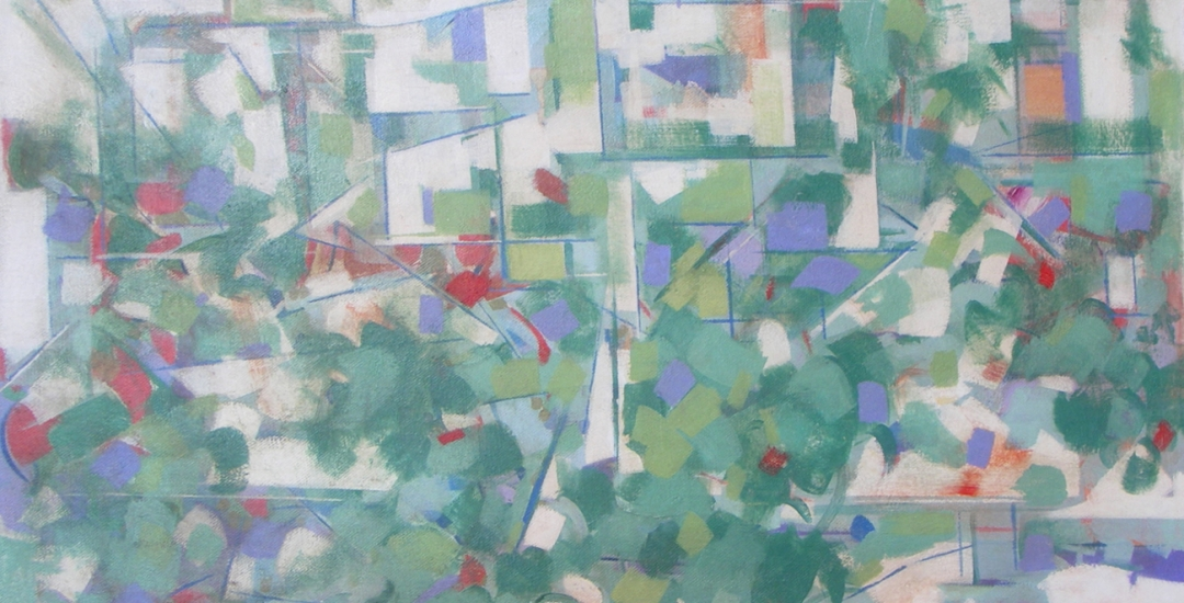Detail of untitled abstract painting by artist Carl Holty (1900-1973).
