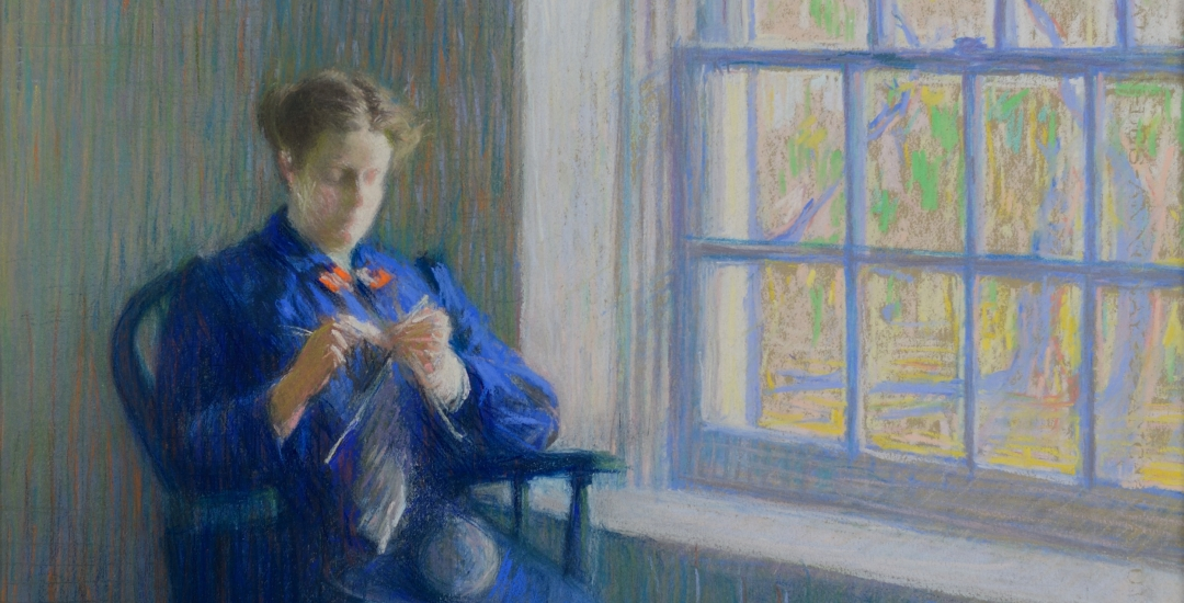 "Detail of pastel painting ""Woman Knitting"" by painter Gertrude Magie."