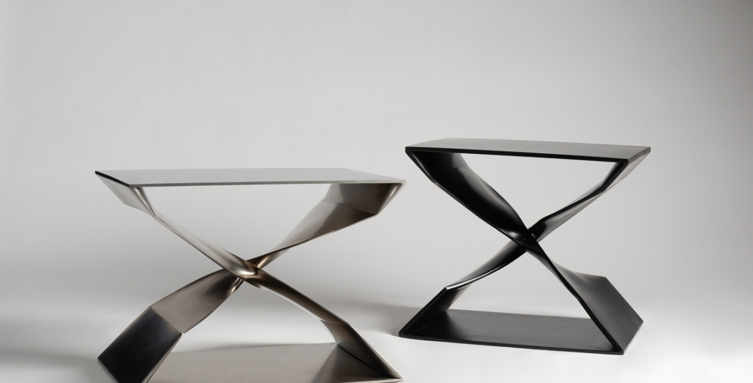 Carol Egan's X stools in stainless steel and blackened bronze.
