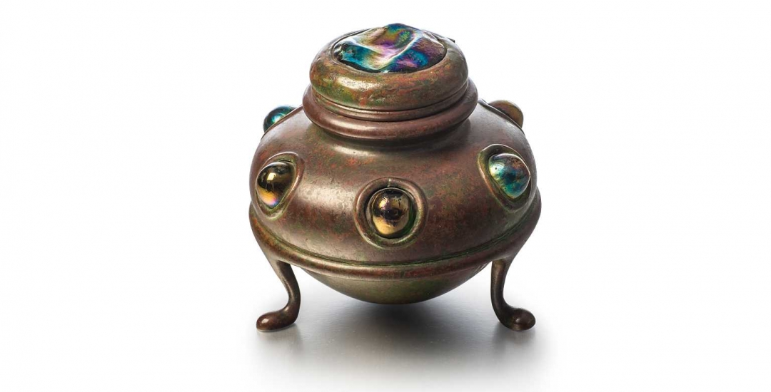 Footed Inkwell with Turtleback Lid and Jewels