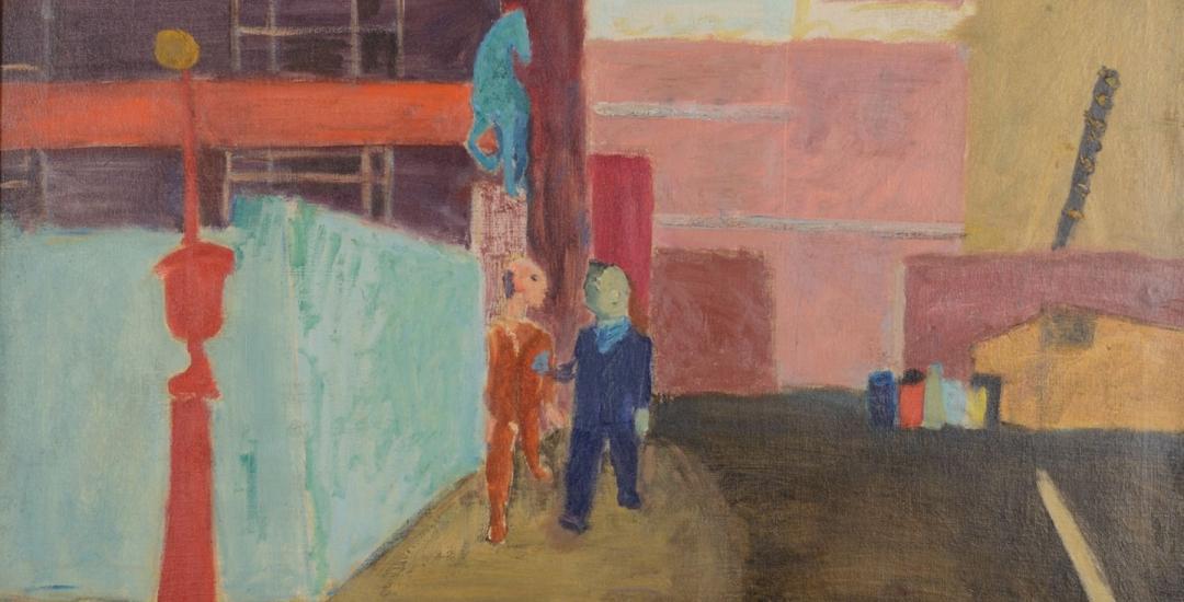 """Oil painting by Joseph Solman entitled """"ASPCA: Street Near Bellevue""""."""