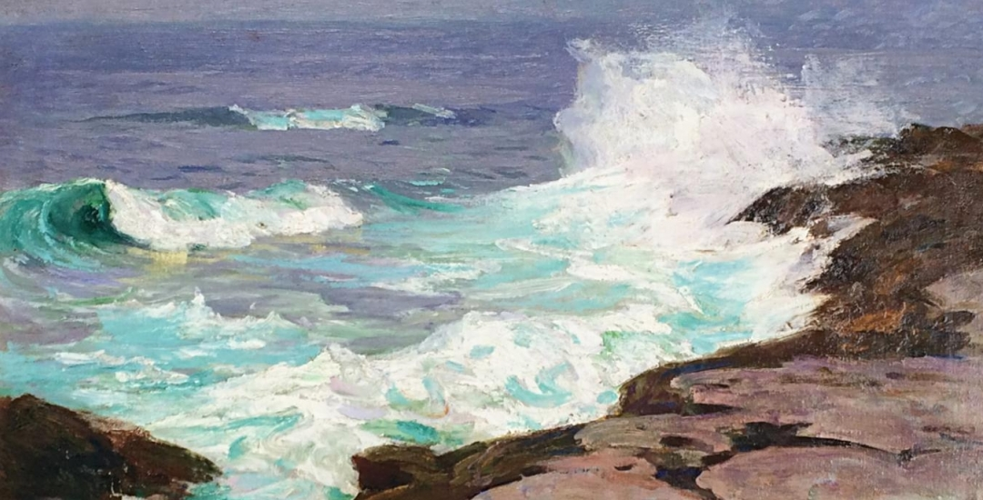 "Edward Henry Potthast painting entitled ""Surf at Low Tide""."