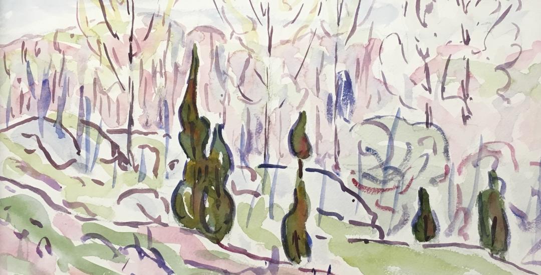 """Allen Tucker 1930 watercolor """"Poplars""""."""