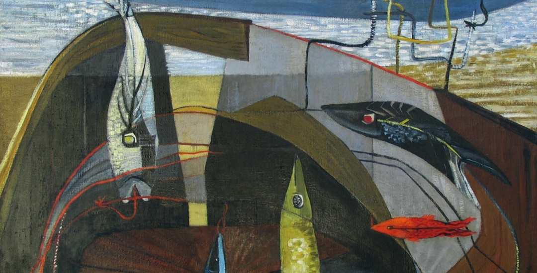 """Virginia Banks oil painting titled """"Basket of Line and Bait"""" from 1949."""