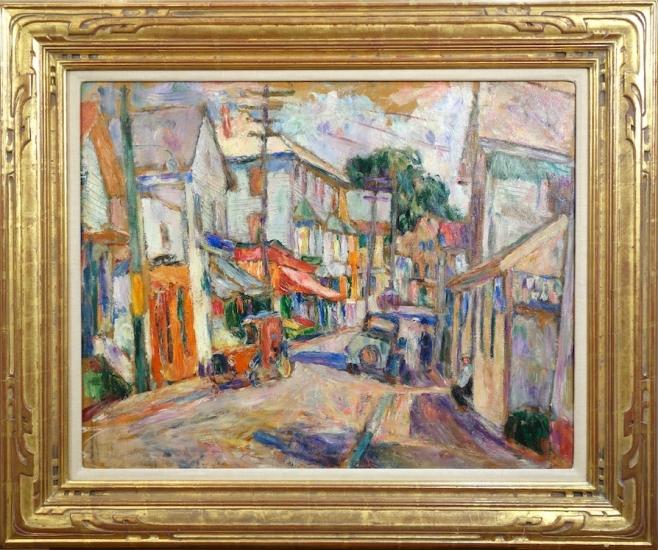Abraham Manievich Peekskill Street Scene Oil on Canvasboard circa 1928