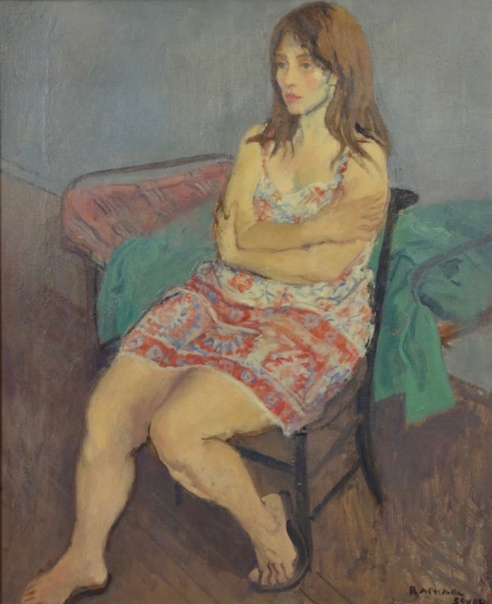 "Raphael Soyer American (1899 - 1987) Girl in a Print Dress 1971 Oil on Canvas H 24"" x W 20"" Signed Lower Right – ""Raphael Soyer"" Titled and Dated Verso on Stretcher Bar"