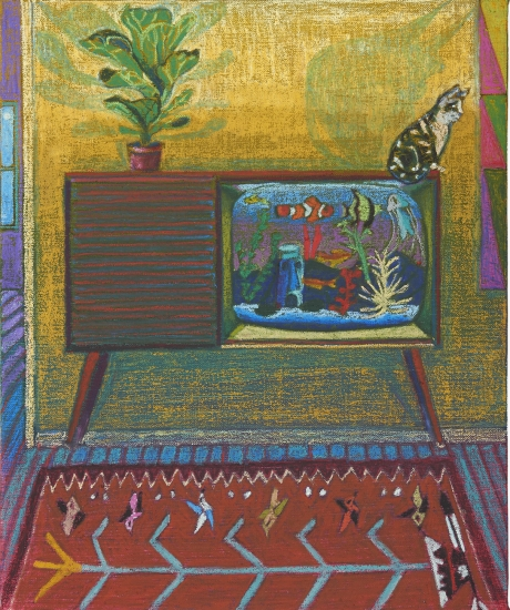 colorful painting of a  cat on a tv