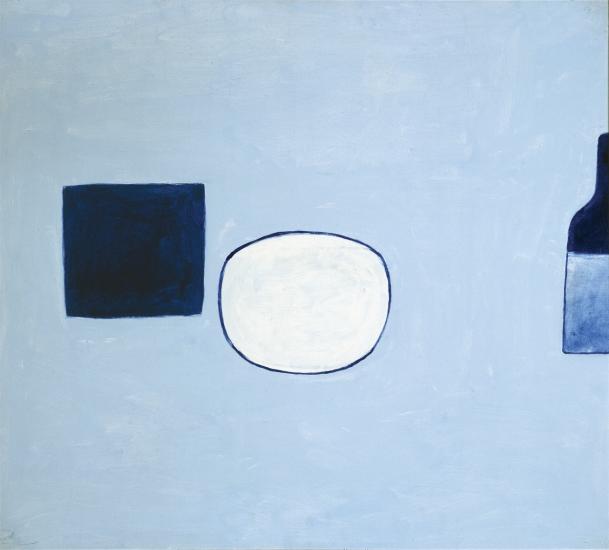"William Scott. Poem for a Jug #21. 1980. Oil on canvas. 32"" x 36"" © Estate of William Scott 2019. Anita Rogers Gallery."