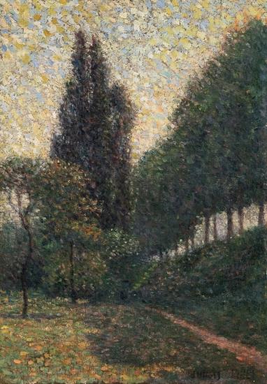 Albert Dubois-Pillet, French, 1846-1890, Landscape at La Grande Jatte (Pré en contre-bas), Oil on canvas 10 5/8 x 7 3/8 inches, Signed lower right