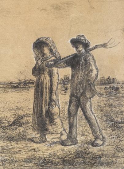 Jean-Francois Millet Le Départ pour Les Champs, 1863 Conte on paper 17 1/4 x 11 3/4 inches