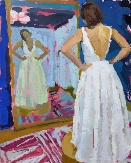 Rachel Rickert, Making Myself Smaller (V), 2019   Oil on panel 10 x 8 inches