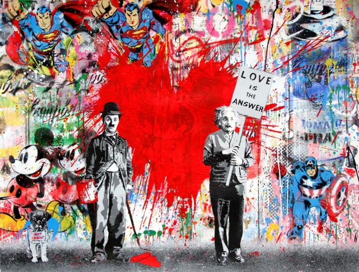 "Mr. Brainwash | Juxtapose | 2017 | silkscreen and mixed media on paper | 38"" x 50"""