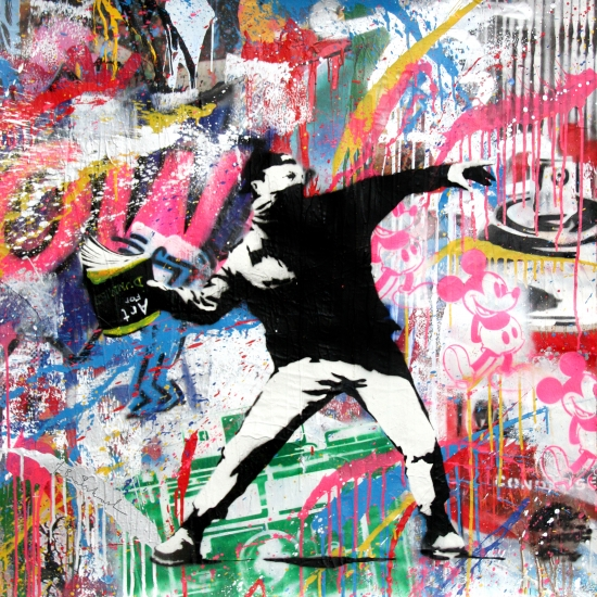 "Mr. Brainwash | Banksy Thrower | 2017 | stencil and mixed media on paper | 36"" x 36"""