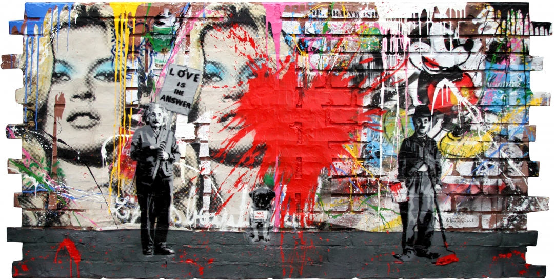 "Mr. Brainwash | Juxtapose | 2017 | stencil and mixed media on fiberglass brick wall | 48"" x 95"""