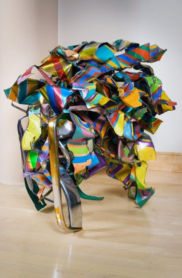 "John Chamberlain | Carmel Bandage | 2002 | painted and chromium plate stainless steel | 44"" x 47"" x 32"""
