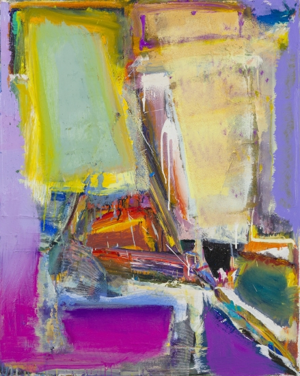 "Richard Hickam | Moon Junction | 1991 | oil on canvas | 40.25"" x 32"""