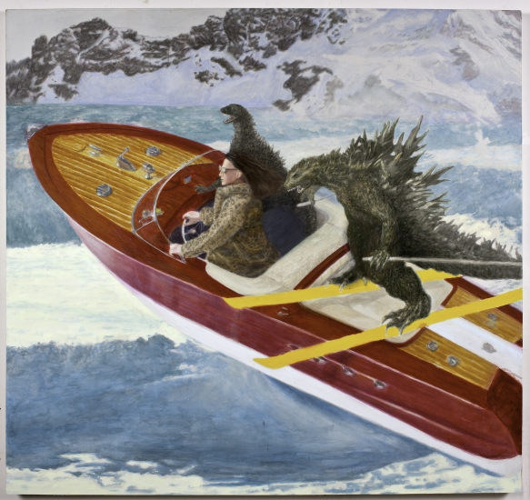 "Craig Nagasawa | J.J. Takes Gojira on a Ski Date | 2016 | minerals and ink on silk and linen | 60"" x 60"""