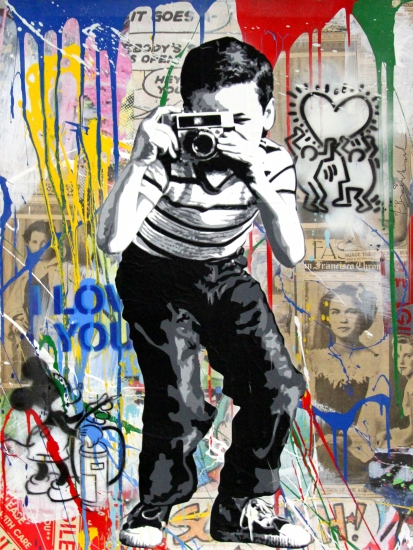"Mr. Brainwash | Smile | 2017 | silkscreen and mixed media on paper | 30"" x 22.5"""