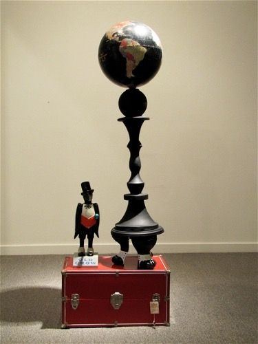 "Mildred Howard | Perched | 2010 | mixed media assemblage | 56"" x 19"" x 10.5"""