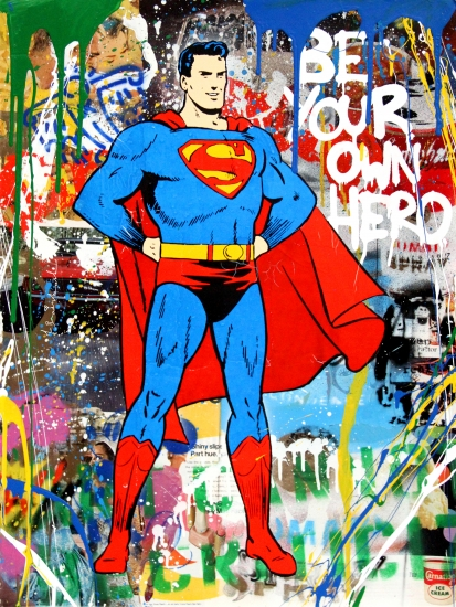 "Mr. Brainwash | Superman | 2017 | silkscreen and mixed media on paper | 30"" x 22.5"""