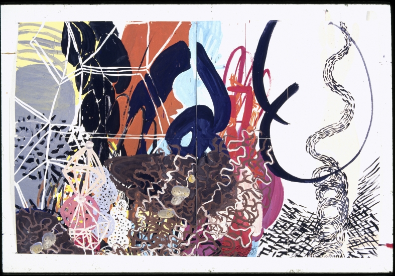 "Irene Pijoan | Worm World | 1989 | gouache on paper | 52"" x 74"""