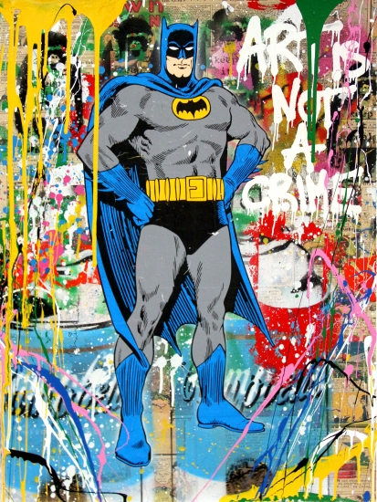 "Mr. Brainwash | Batman | 2017 | silkscreen and mixed media on paper | 30"" x 22.5"""