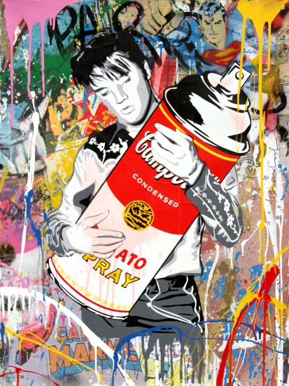 "Mr. Brainwash | Don't Be Cruel | 2017 | silkscreen and mixed media on paper | 30"" x 22.5"""