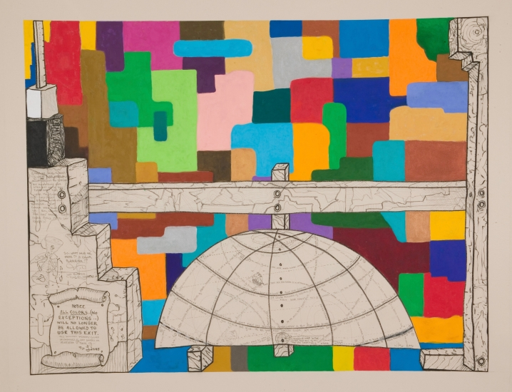 "William T. Wiley | Color Barrier | 2006 | acrylic, charcoal, and graphite on canvas | 60"" x 79"""