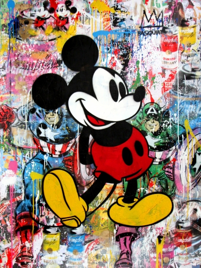 "Mr. Brainwash | Mickey | 2017 | stencil and mixed media on paper | 64"" x 48"""