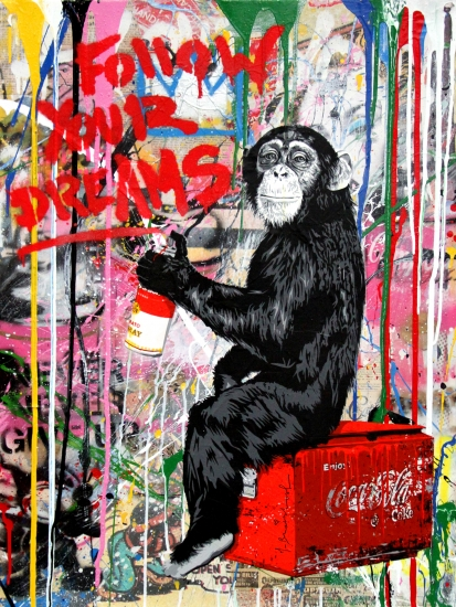 "Mr. Brainwash | Everyday Life | 2017 | silkscreen and mixed media on paper | 30"" x 22.5"""