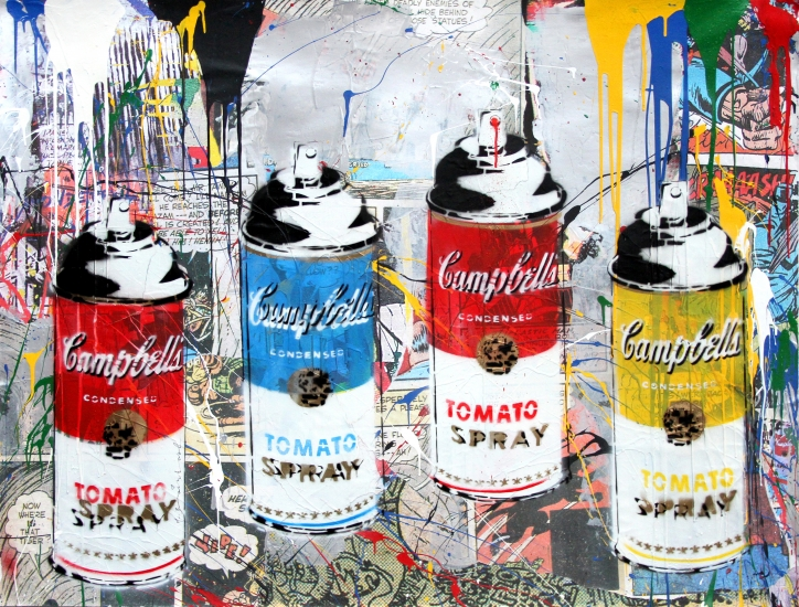 "Mr. Brainwash | Tomato Spray | 2017 | stencil and mixed media on paper | 38"" x 50"""