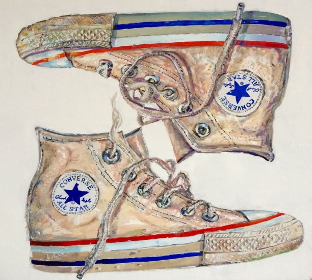 "Don Nice | Double Sneaker High Top | 2015 | oil on canvas | 36"" x 40"""