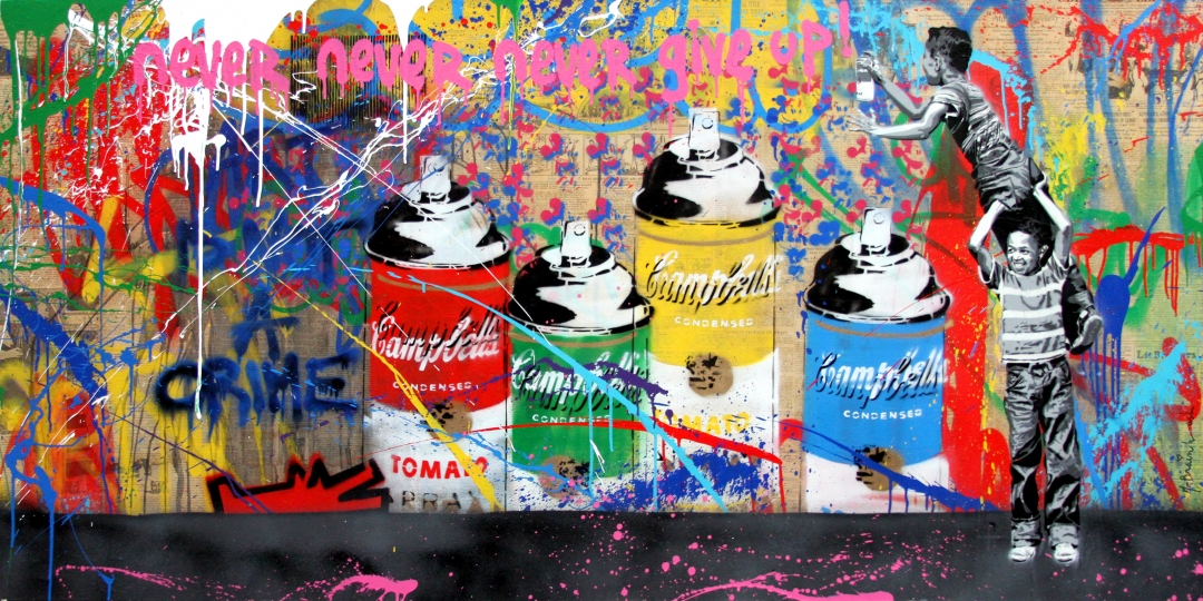 "Mr. Brainwash | Never Never Give Up! | 2017 | stencil and mixed media on canvas | 36"" x 72"""