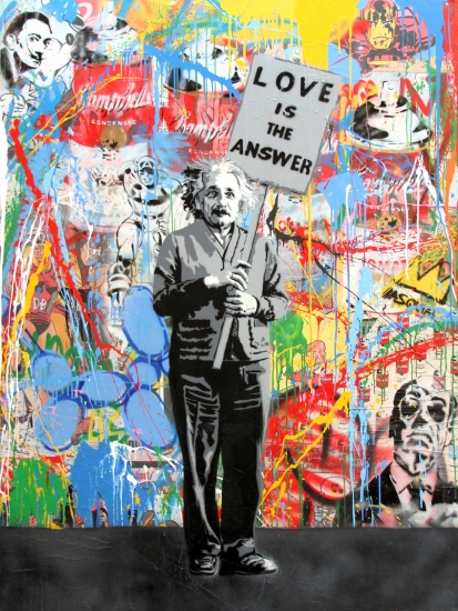 "Mr. Brainwash | Einstein | 2017 | stencil and mixed media on canvas | 64"" x 48"""